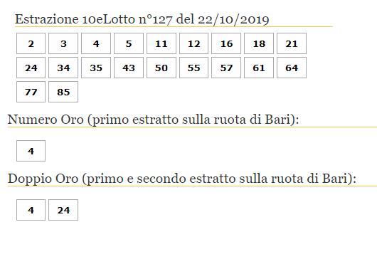 10elotto 22 ott 2019